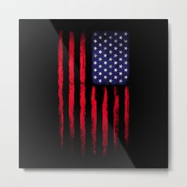 Vintage American flag on black Metal Print