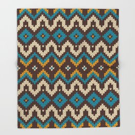 Modern knitted fair isle ethnic style Throw Blanket