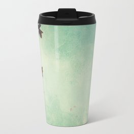 branch with cherry pink blooming flowers on rustic background Travel Mug