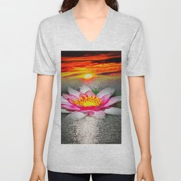 Wellness Water Lily 5 Unisex V-Neck