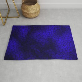 Stained glass texture of snake blue leather with dark heat spots. Rug