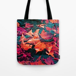 Colorfull Autumn water leaves Tote Bag