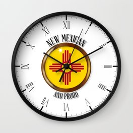 New Mexico Proud Flag Button Wall Clock