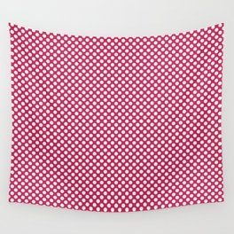 Rose Red and White Polka Dots Wall Tapestry