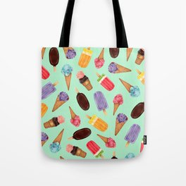 Pastel green Ice Cream cones Pattern | Ice cream and popsicle summer pattern Tote Bag