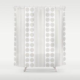 Geometric Dusky Silver Grey & White Vertical Stripes & Circles Shower Curtain