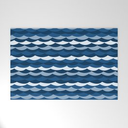 Classic Blue Wave Pattern Welcome Mat