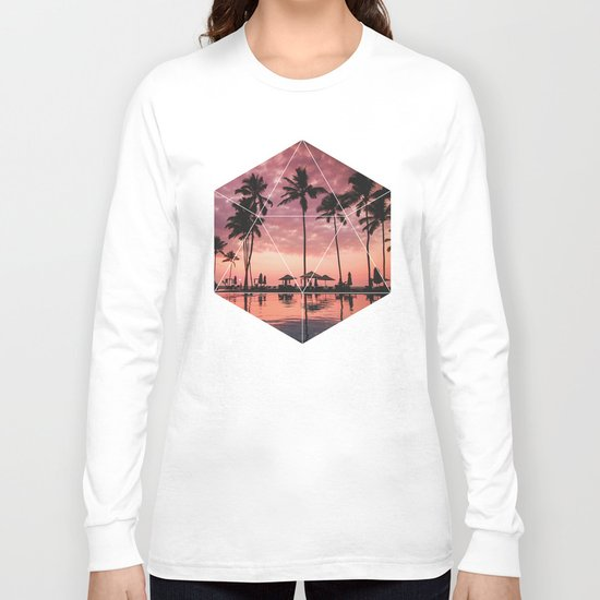SUNSET PALMS- Geometric Photography Long Sleeve T-shirt