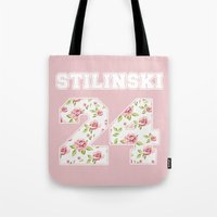 stiles stilinski Tote Bags featuring Stilinski 24 by Indy