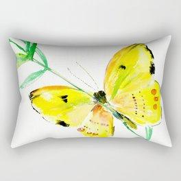 Yellow Butterfly, children butterfly decor kids room, girls room yellow decor butterfly art Rectangular Pillow