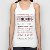 winnie the pooh Tank Tops featuring Winnie the Pooh Friendship Quote - Tan & Red by Jaydot Creative