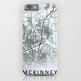 McKinney, TX, USA, White, City, Map iPhone Case