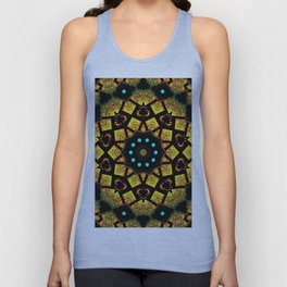 Bright Yellow Mosaic Symmetry Mandala Unisex Tank Top