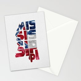 Mississippi Typographic Flag Map Art Stationery Cards