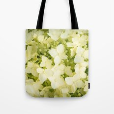 The flowers of white hydrangeas. Tote Bag