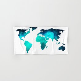 World Map Space Galaxy Stars in Turquoise Hand & Bath Towel