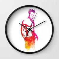 tyler durden Wall Clocks featuring Tyler Durden Fight Stance by Jon Hernandez