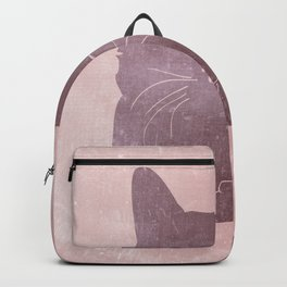 Happy purple cat illustration on pink for girls Backpack