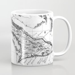 Vintage Map of Cuba and Jamaica (1763) BW Coffee Mug