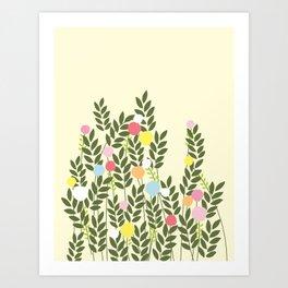 graphic flowers Art Print