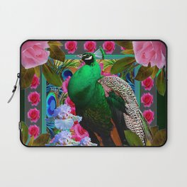PINK ROSES & GREEN PEACOCK GARDEN FLORAL ART Laptop Sleeve
