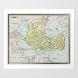 Vintage Map of Portland Maine (1889) Art Print