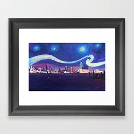 Starry Night in Hamburg   Van Gogh Inspirations in Hamburg Harbour with Elbe Philharmonic Hall Framed Art Print