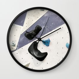 Geometric abstract free climbing bouldering holds black blue men Wall Clock