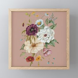 Colorful Wildflower Bouquet on Pink Framed Mini Art Print
