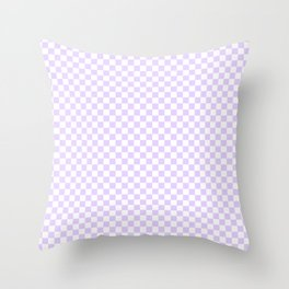 Chalky Pale Lilac Pastel Color and White Checkerboard Throw Pillow