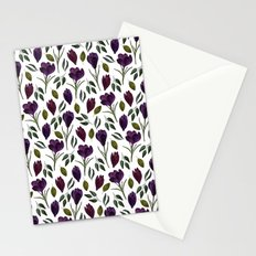 Plum Rose Pattern Stationery Cards