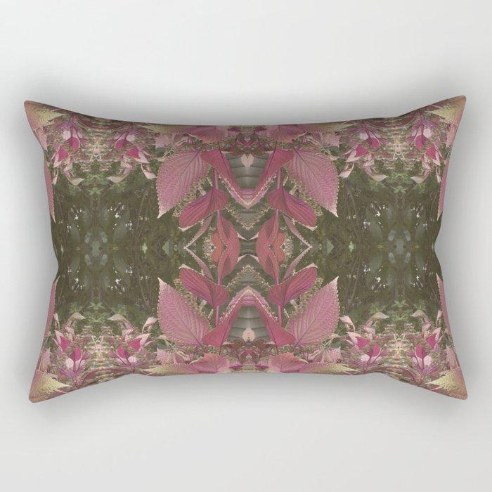 Red Shiso Warm Tones Pattern Rectangular Pillow