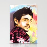 james franco Stationery Cards featuring James Franco by Anguiano Art
