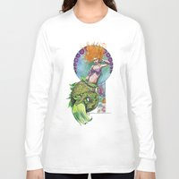 pinup Long Sleeve T-shirts featuring Mermaid Pinup by Theresa Lammon