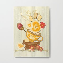 Time For Tea With Friends Series: Floral Tea 3 Metal Print