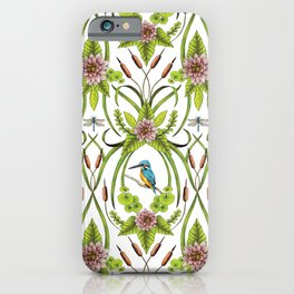 Common Kingfisher, Water Lilies, Dragonflies & Cattails Pattern iPhone Case