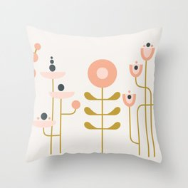 very graphic flowers Throw Pillow
