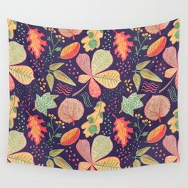 Yellow Leaves On Purple Crayon Drawing, Vibrant Autumn Pattern Wall Tapestry