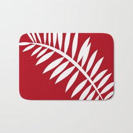 PALM LEAF RED AND WHITE PATTERN Bath Mat