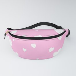 Hand-Drawn Hearts (White & Pink Pattern) Fanny Pack