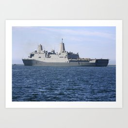 The USS Anchorage is being prepared for the Orion Underway Recovery Test 2 Art Print