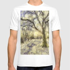 Summertime Forest Van Gogh Mens Fitted Tee White MEDIUM