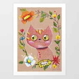Red Cat Knows All Art Print