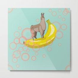 Confident Banana Llama Metal Print