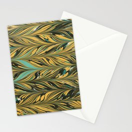 The Harvest, Yellow and Black Antique Straight Pattern  Stationery Cards