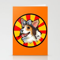 corgi Stationery Cards featuring corgi  by sebastian aburto