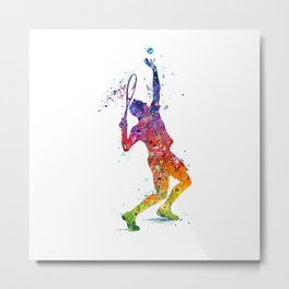 Tennis Player Boy Colorful Watercolor Art Metal Print