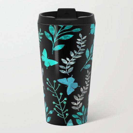 Watercolor flowers & butterflies IV Metal Travel Mug