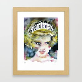 DIANA ,PRINCESS OF WALES - watercolor portrait .2 Framed Art Print