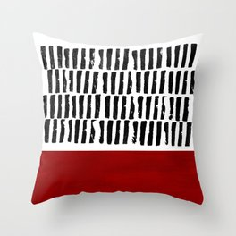 Red and black lines Throw Pillow